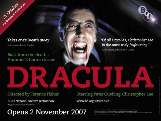 Dracula poster, courtesy of BFI. For the BFI restoration of Hammer's Dracula, 2007. Not to be reused without permission